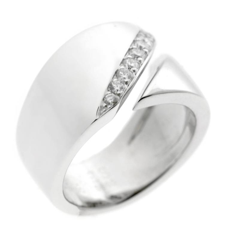 Hermes Diamond White Gold Bypass Ring