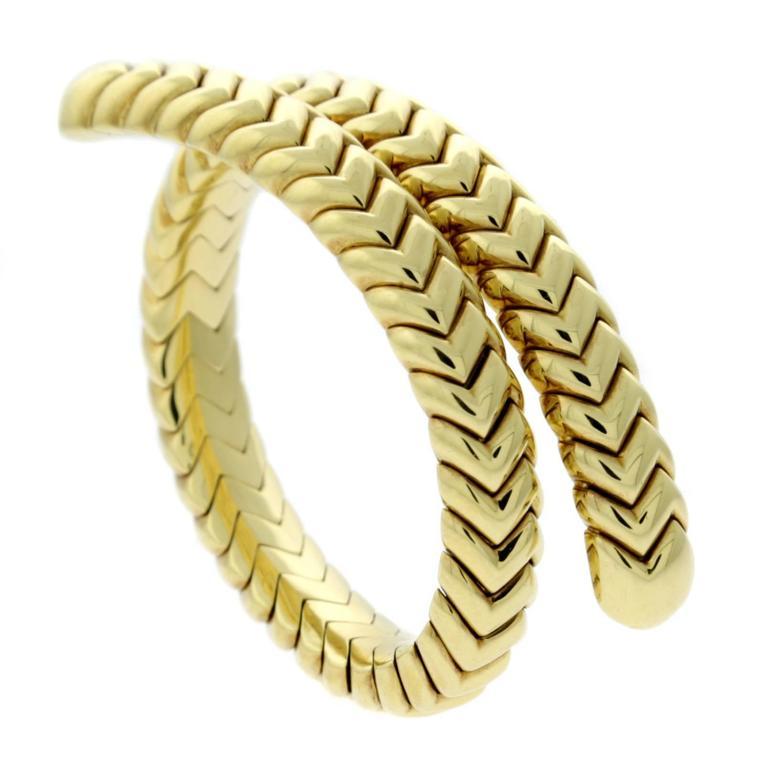 Bulgari Spiga Gold Wrap Bracelet For