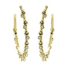 Dior Hoop Diamond Gold Earrings