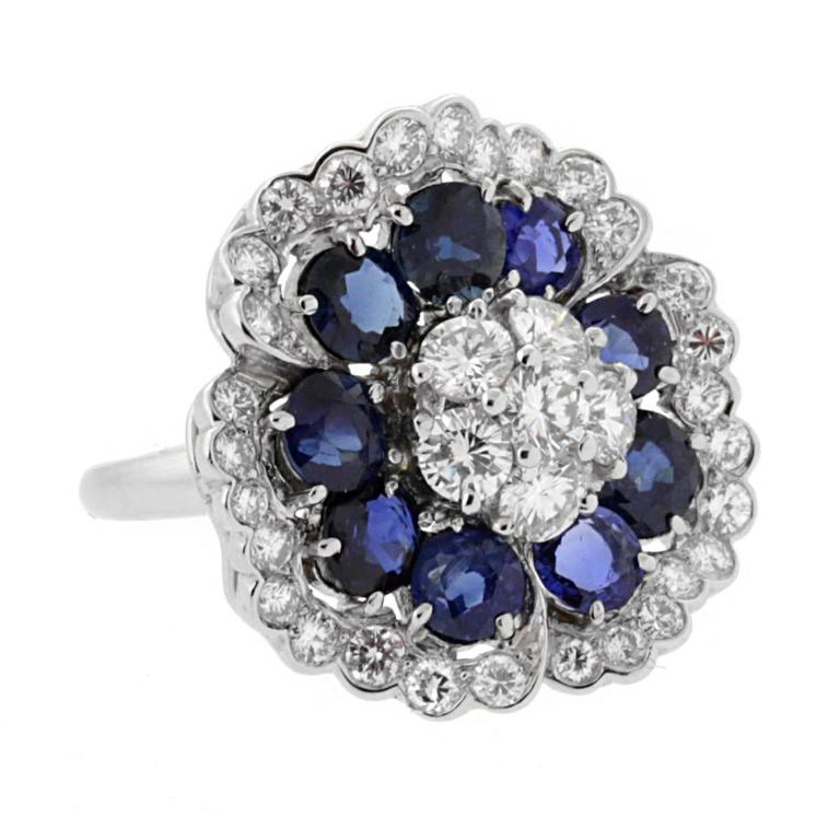 Van Cleef & Arpels Camellia Sapphire Diamond White Gold Ring