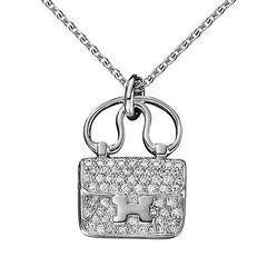 Hermes Constance Charm Diamond white gold Pendant Necklace