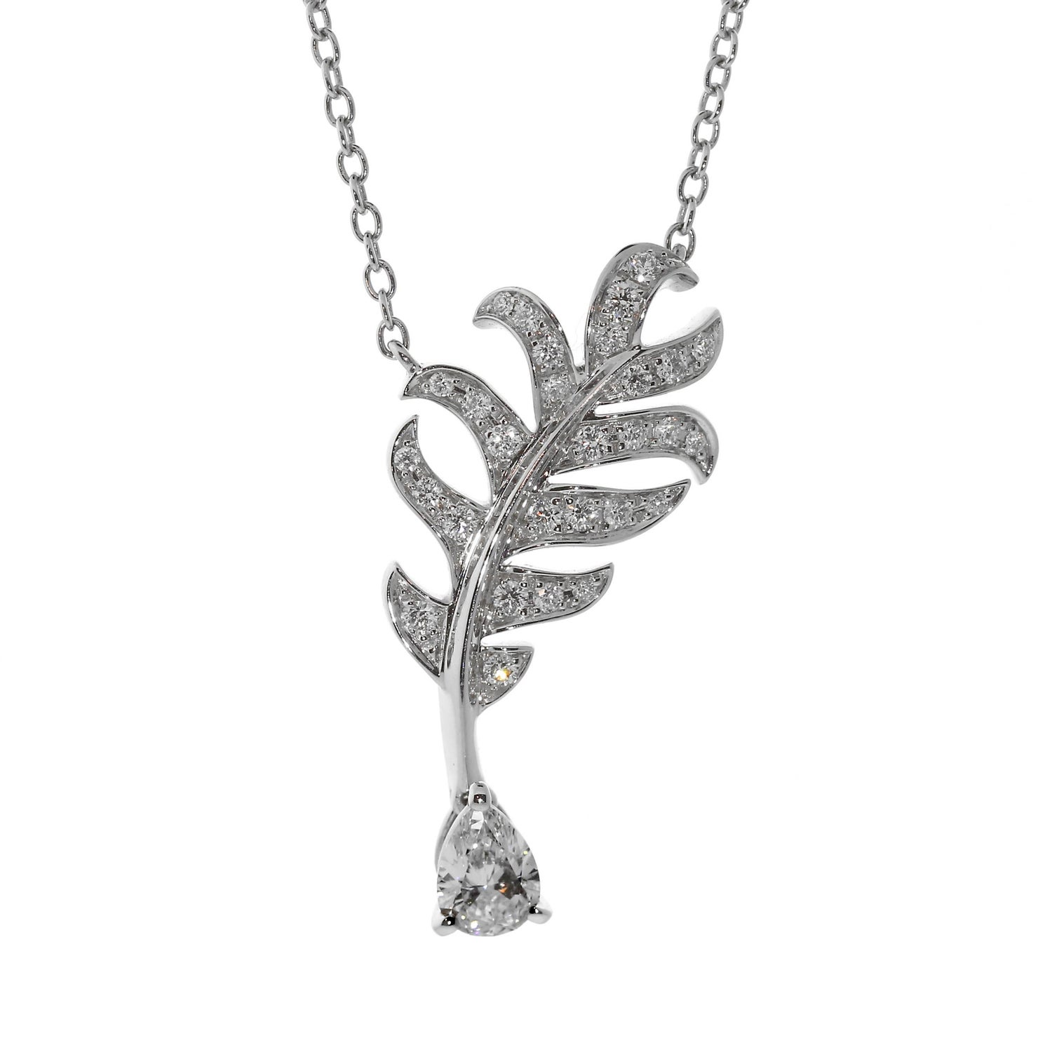 Chanel Plume De Chanel Diamond Necklace For Sale at 1stdibs
