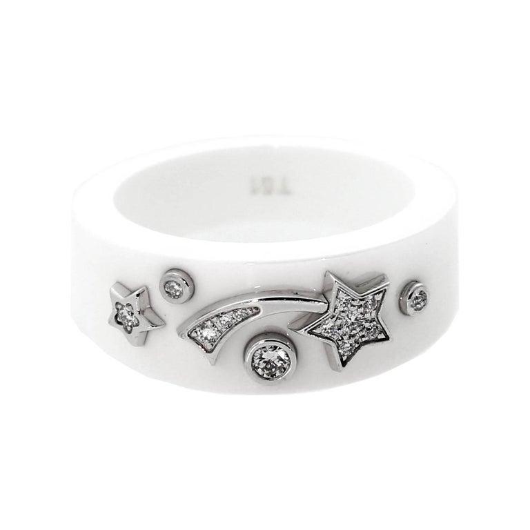 Chanel Comete Ceramic Medium Diamond Ring