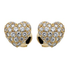 Cartier Heart Diamond Gold Earrings