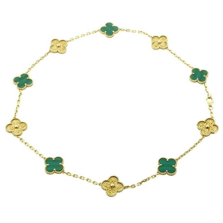 Van cleef and arpels limited edition malachite vintage alhambra van cleef arpels limited edition malachite vintage alhambra necklace for sale aloadofball Image collections