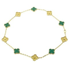 Van Cleef & Arpels Limited Edition Malachite Vintage Alhambra Necklace