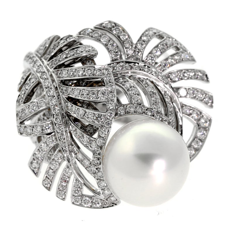 Chanel Pearl Diamond White Gold Ring