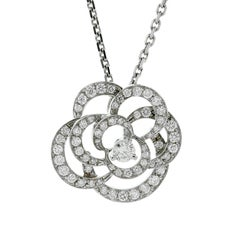 Chanel Camellia Flower Diamond Necklace