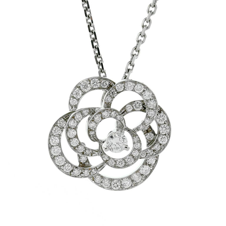 Chanel Camellia Flower Diamond Necklace For Sale