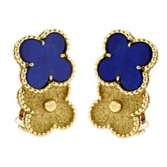 Van Cleef & Arpels Lapis Vintage Alhambra Earrings