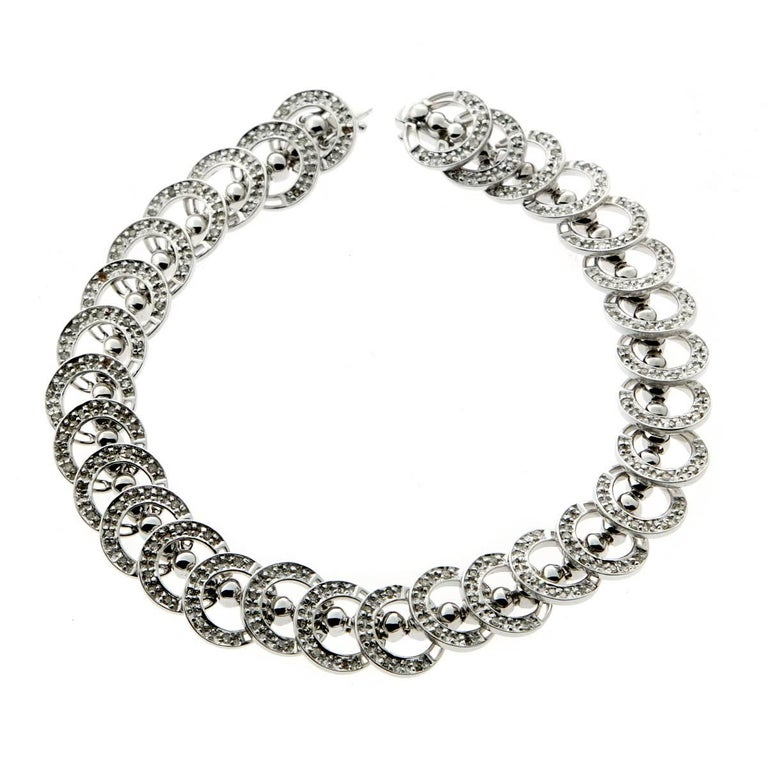 Round Diamond White Gold Bracelet For Sale