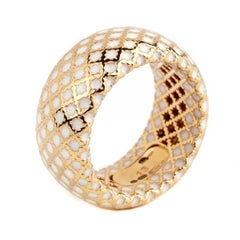 Gucci Diamantissima White Enamel Gold Band Ring