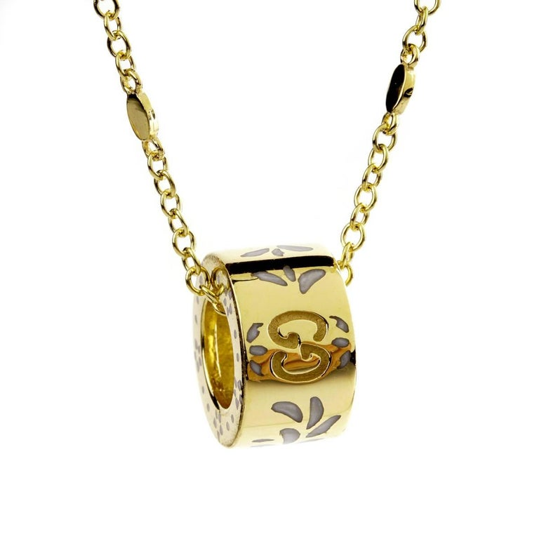 Gucci Double G Enamel Gold Necklace