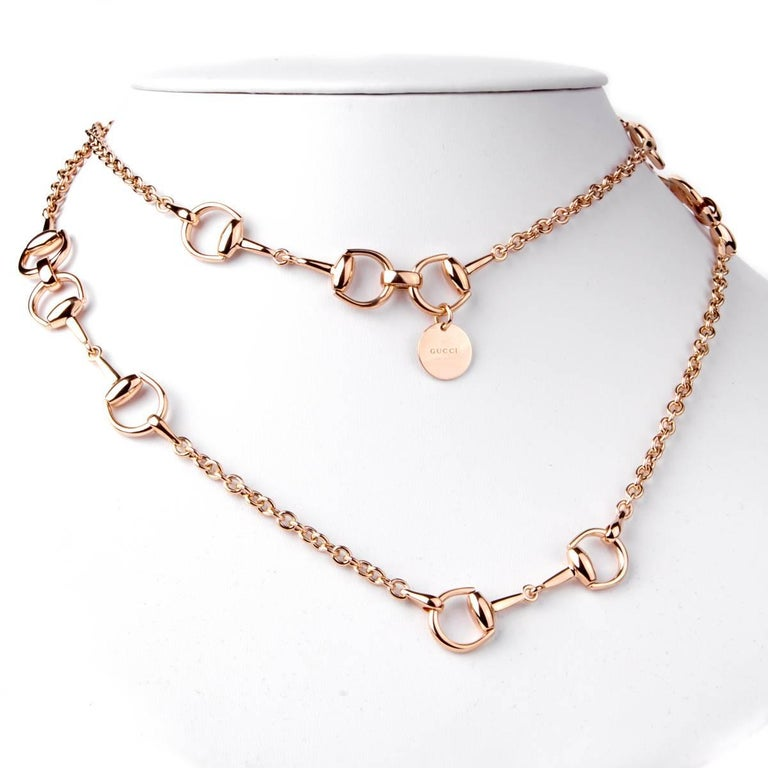 40fc1ddd889 Gucci Horsebit Long Rose Gold Necklace For Sale At 1stdibs
