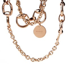 Gucci Horsebit Long Rose Gold Necklace