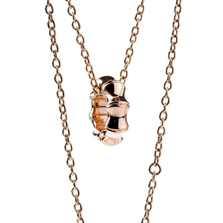 Gucci bamboo rose gold necklace for sale at 1stdibs a fabulous chic gucci necklace showcasing the bamboo design in 18k rose gold this playful aloadofball Choice Image