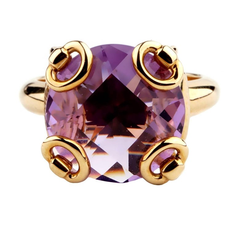 Gucci Horsebit Amethyst Gold Ring For Sale