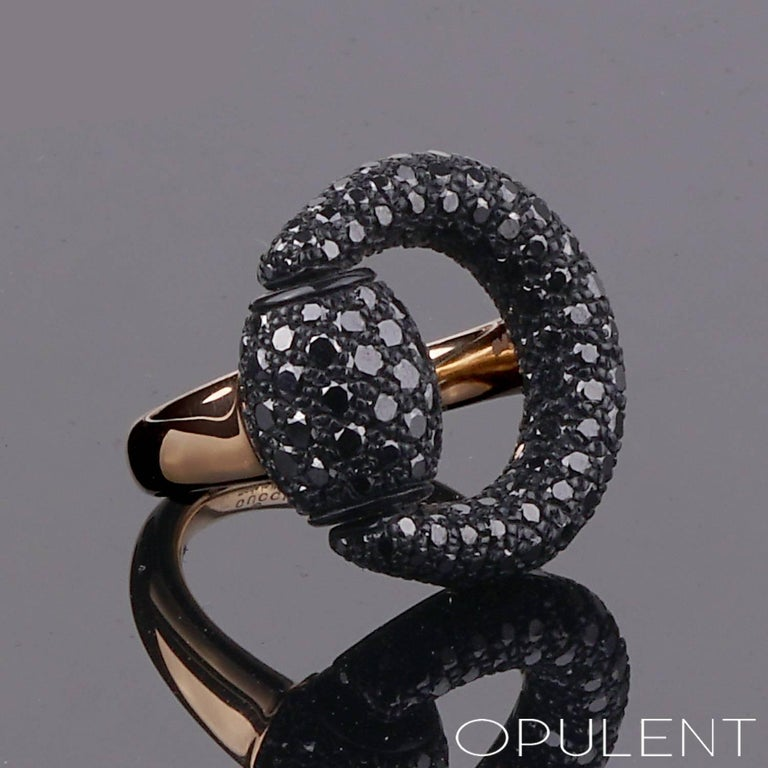 Gucci Black Diamond Horsebit Rose Gold Ring In New Condition For Sale In Feasterville, PA