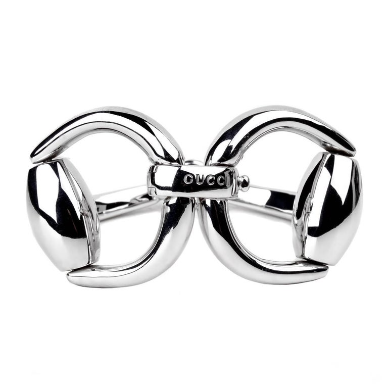 8bfd4e42b Gucci Horsebit Silver Bangle Bracelet For Sale at 1stdibs