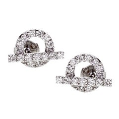 Hermes Diamond Stud White Gold Earrings