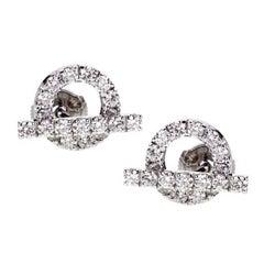 Hermes Diamond Stud White Gold Earrings