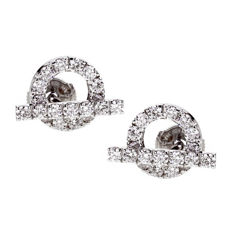 Hermes Diamond Stud White Gold Earrings For Sale
