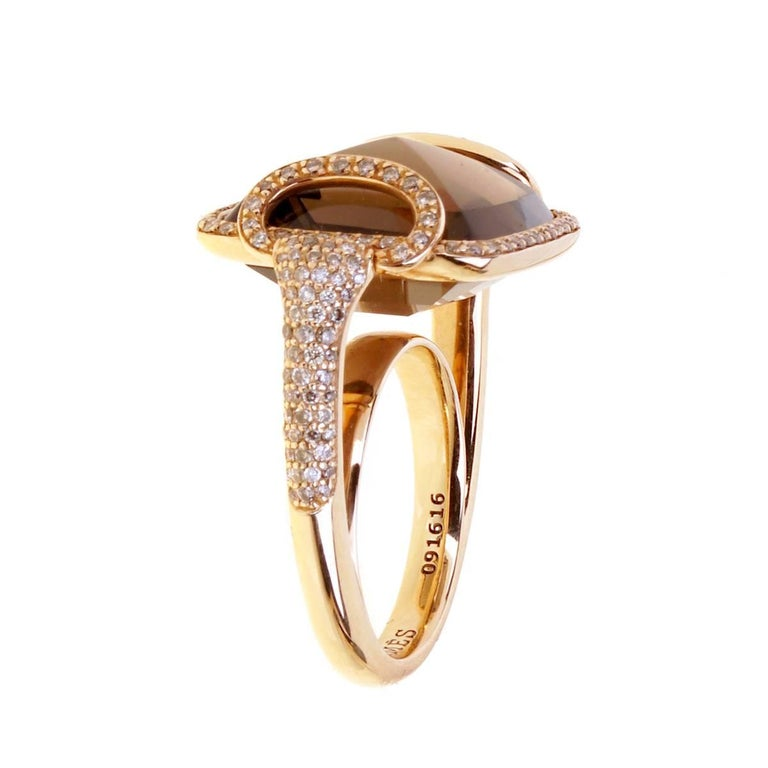Round Cut Hermes Smokey Quarts Fancy Diamond Cocktail Ring For Sale