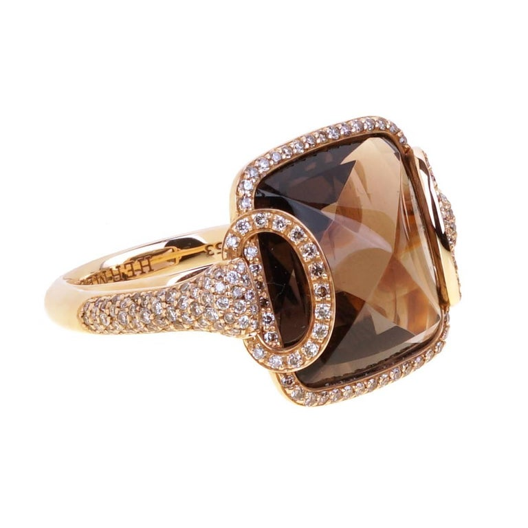 Hermes Smokey Quarts Fancy Diamond Cocktail Ring For Sale