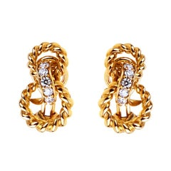 Tiffany & Co. Braided Gold Diamond Earrings