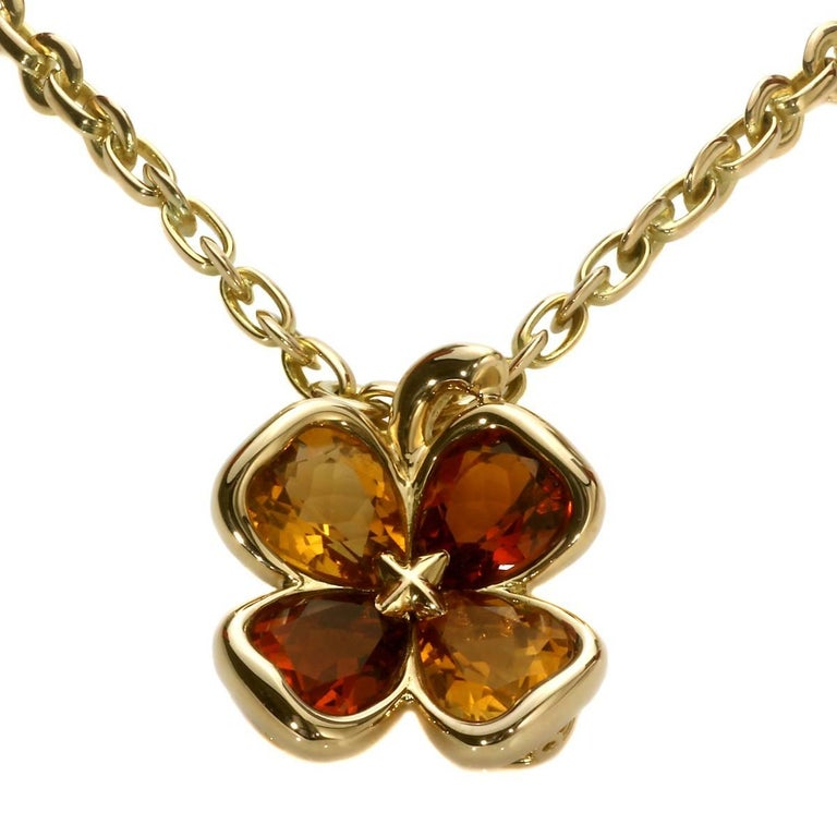 Chanel Clover Yellow Gold Necklace