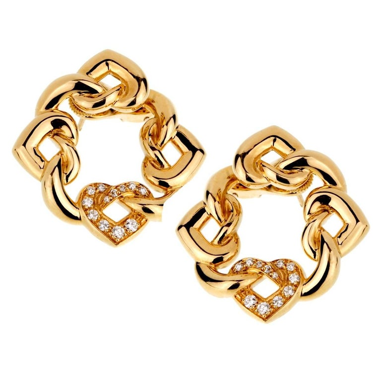 Bulgari Heart Diamond Gold Earrings