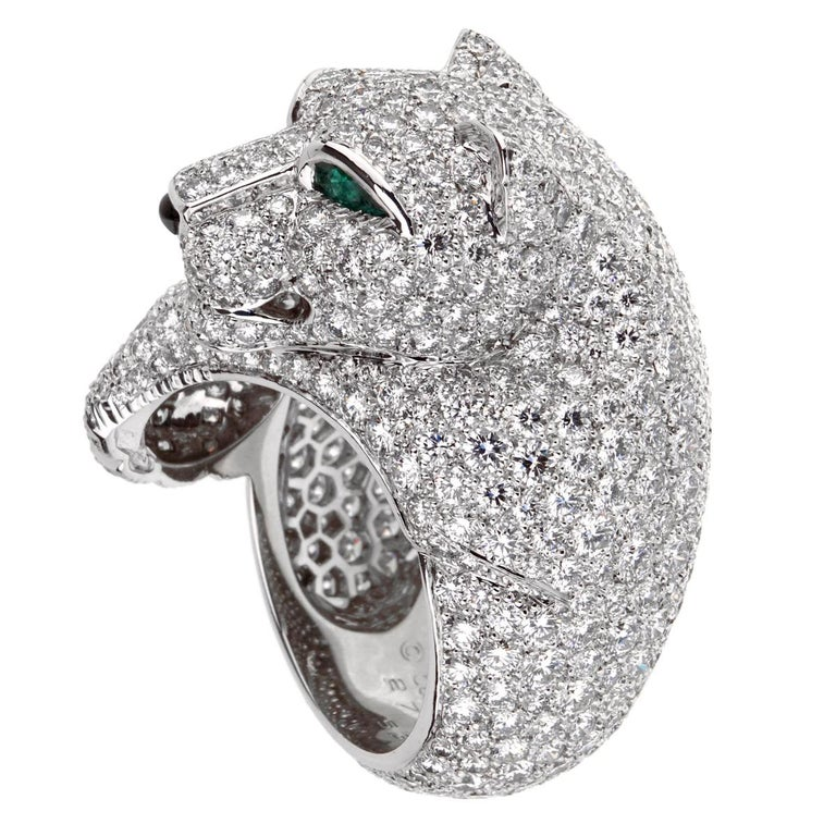 Round Cut Cartier Panthere Pave Diamond Emerald White Gold Ring For Sale