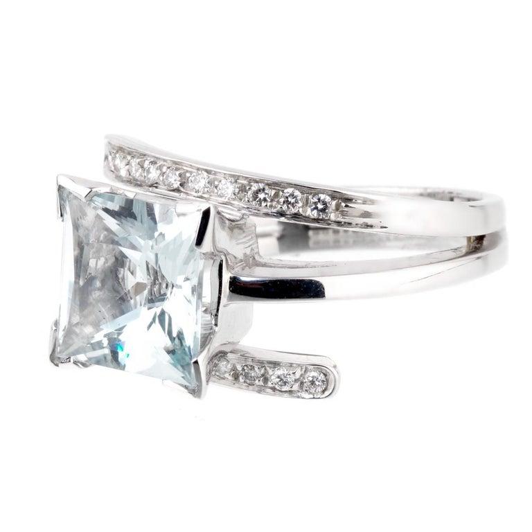 Recarlo Aquamarine Diamond White Gold Ring For Sale
