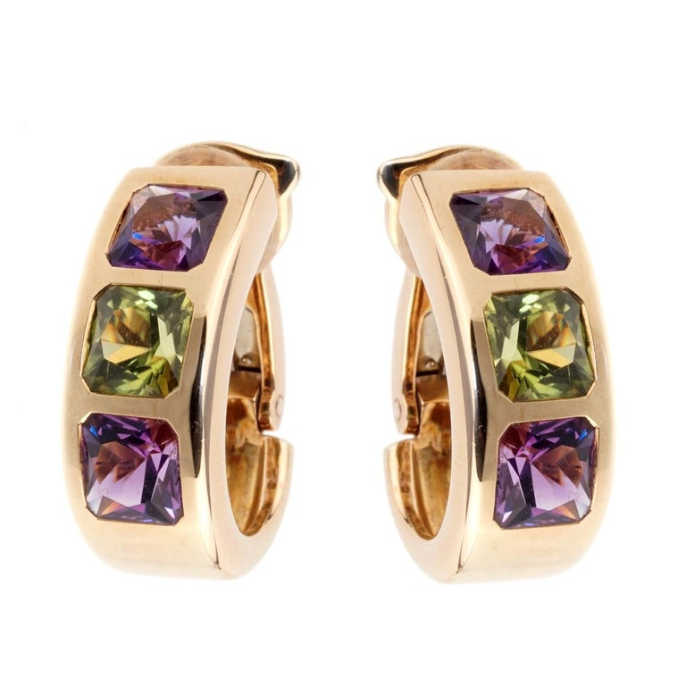 Van Cleef & Arpels Amethyst Peridot Gold Earrings