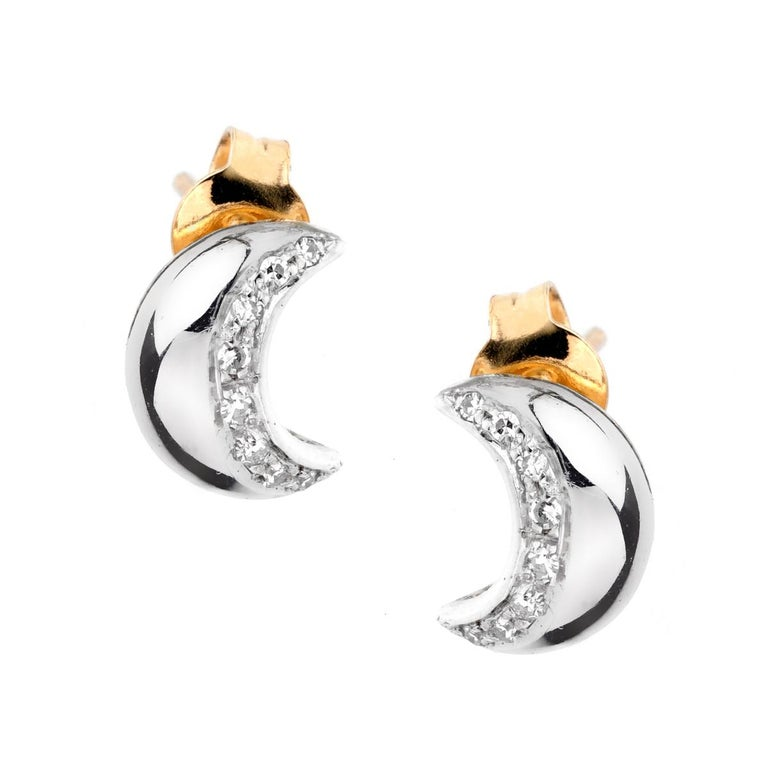 Recarlo Moon Diamond Gold Earrings In Excellent Condition For Sale In Feasterville, PA