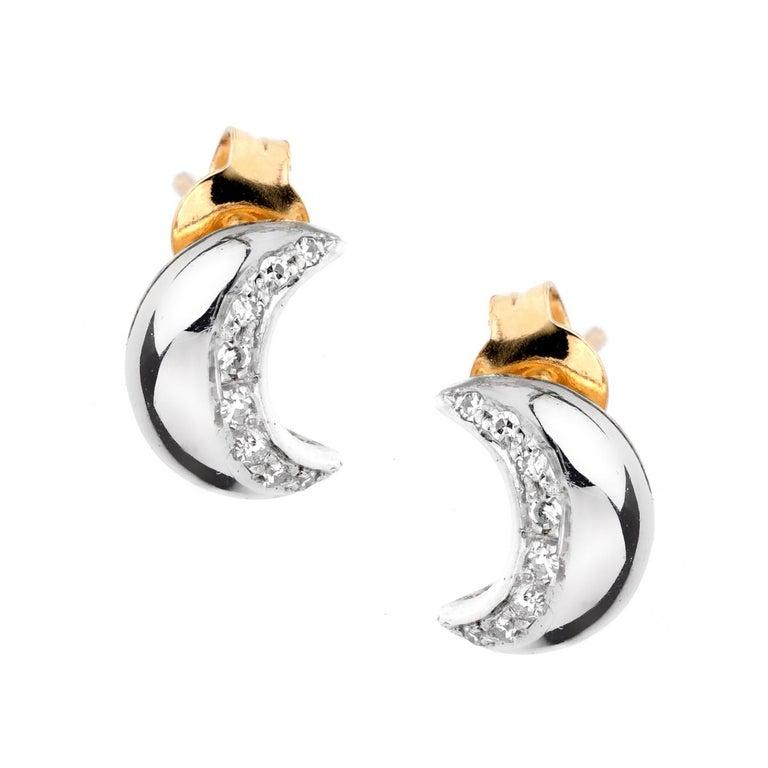 Recarlo Moon Diamond Gold Earrings For Sale