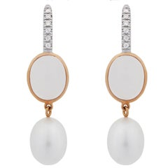 Mimi Milano Milky Quartz Pearl Diamond Gold Earrings