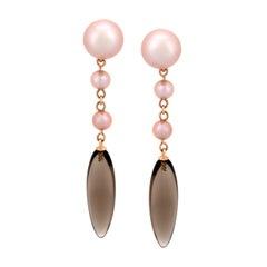 Mimi Milano Smoky Quartz Pearl Rose Gold Earrings