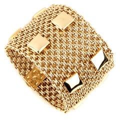 Hermès Paris Collier De Chien Mesh Gold Bracelet