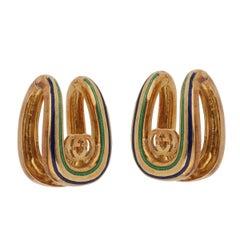 Gucci Vintage Enamel Gold Cufflinks