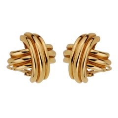 Tiffany & Co Crisscross Large Gold Earrings