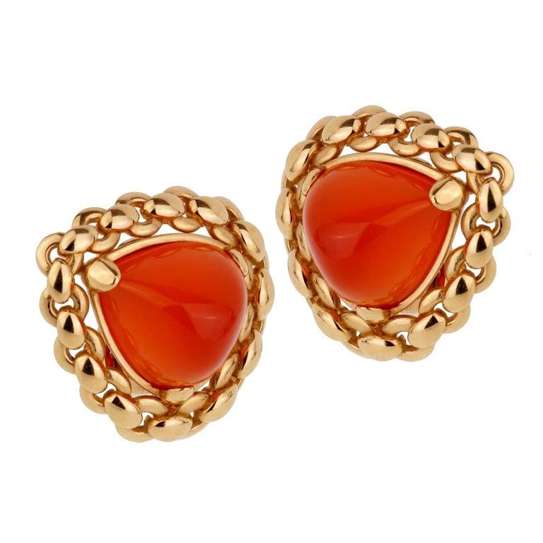 Hermes  Vintage Sugarloaf Carnelian Gold Clip on Earrings For Sale