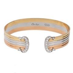 Cartier C de Diamond Cuff Gold Bracelet