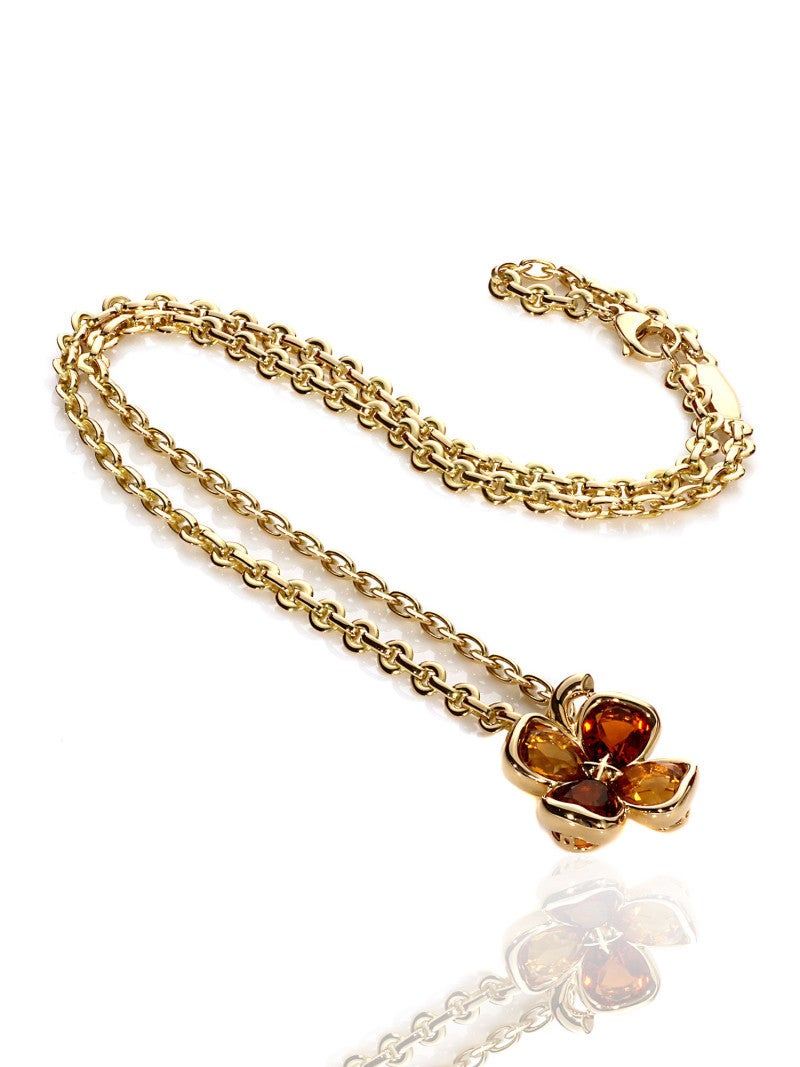 Chanel Citrine Gold Clover Necklace 2