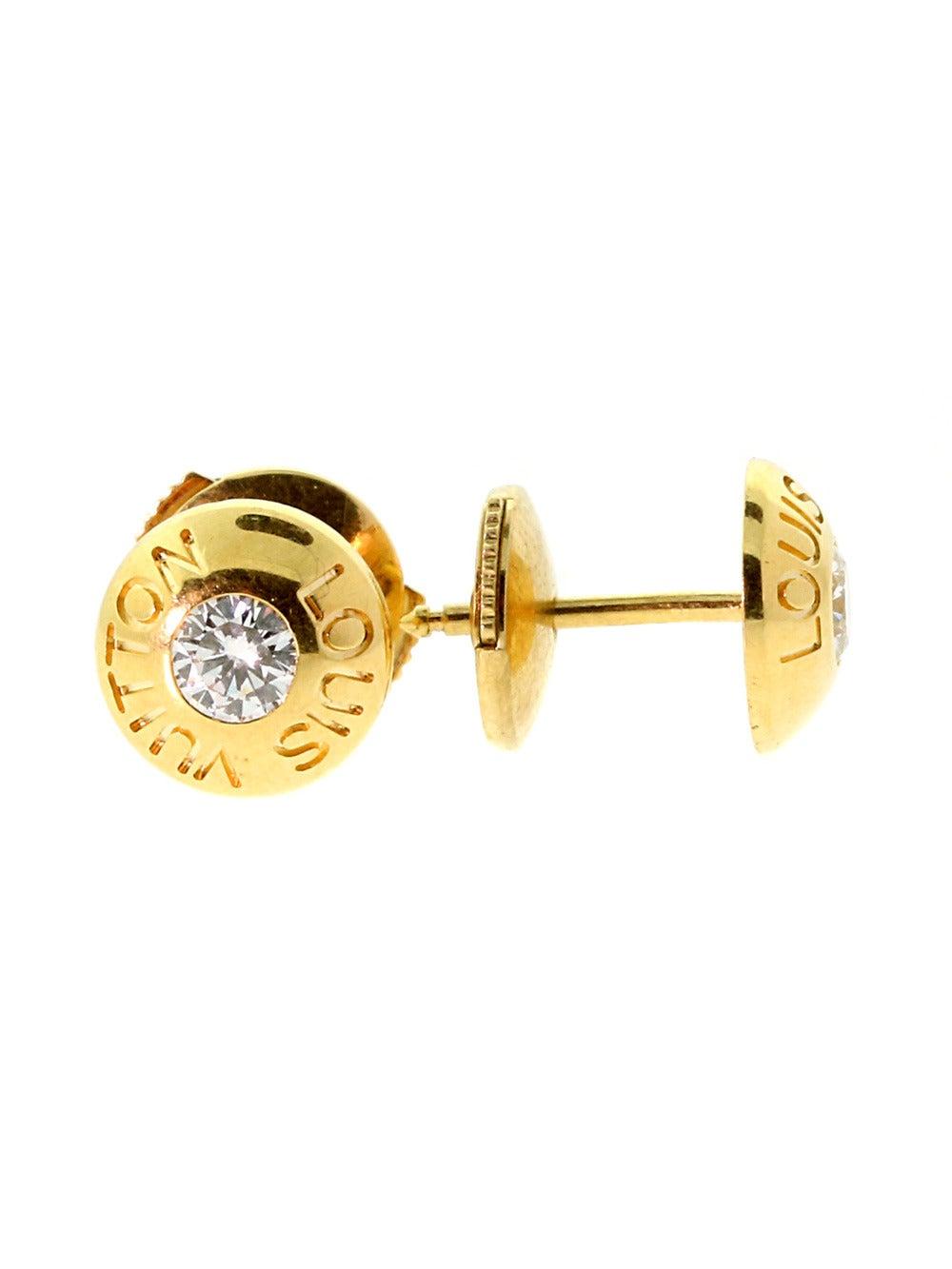 Louis Vuitton Diamond Gold Stud Earrings 2