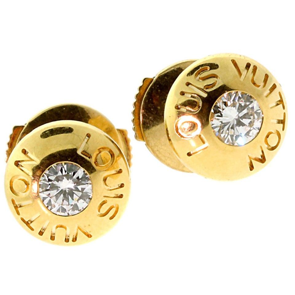 Louis Vuitton Diamond Gold Stud Earrings 1