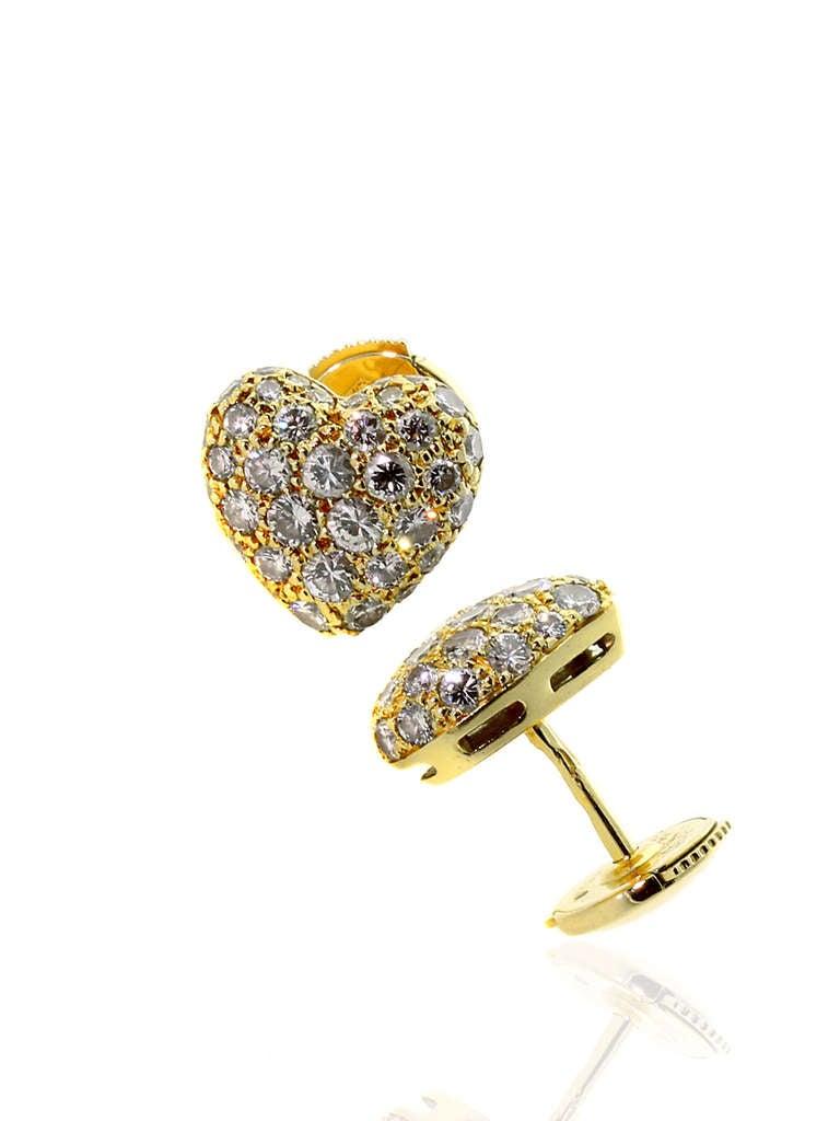 Cartier Pave Diamond Gold Puffed Heart Earrings 3