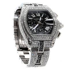 Cartier Stainless Steel Diamond Roadster Chronograph Wristwatch