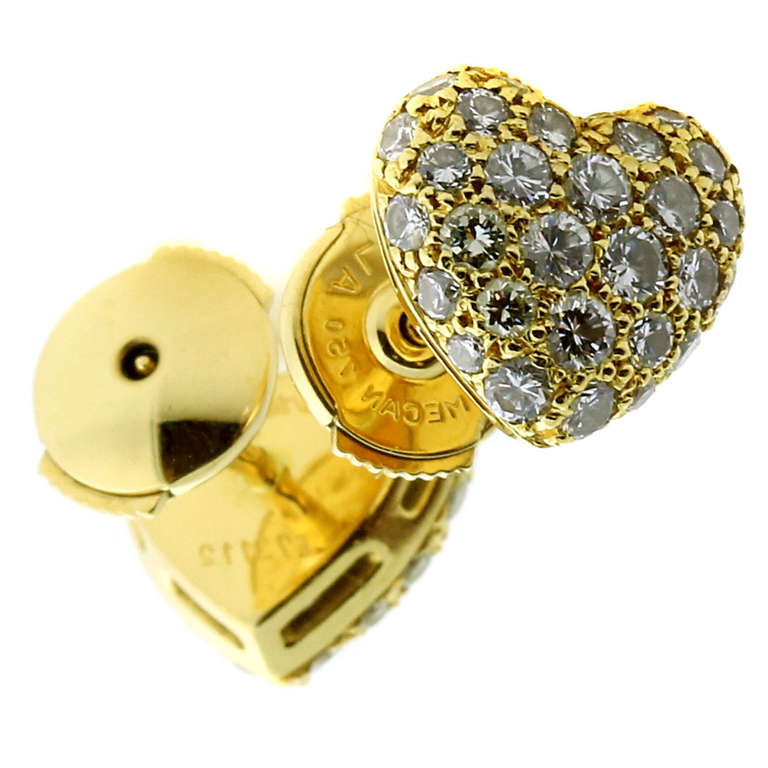 Cartier Pave Diamond Gold Puffed Heart Earrings For
