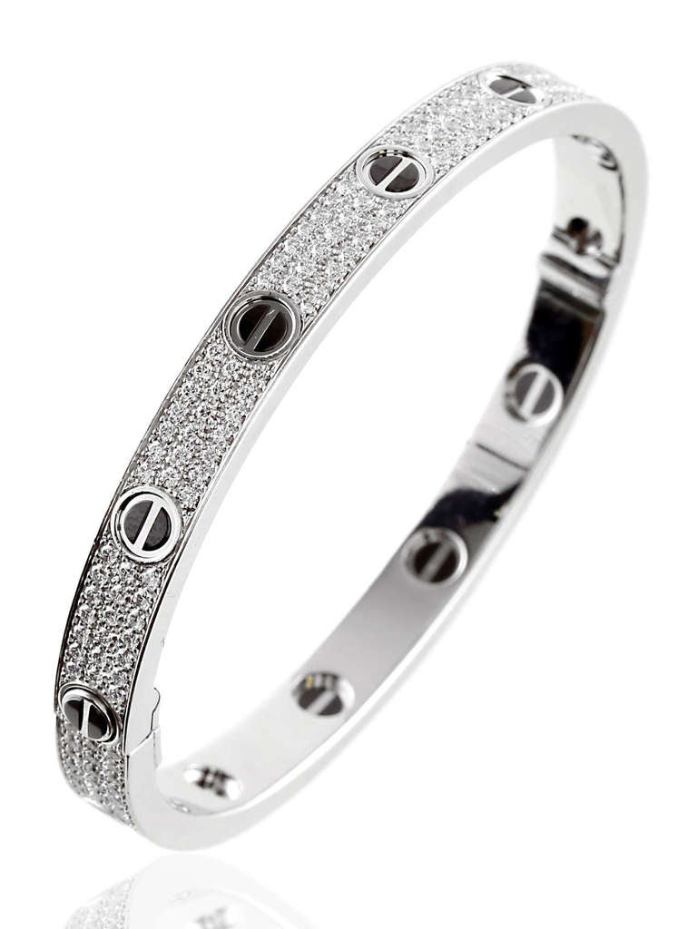 Cartier Love Full Diamond Pave Bangle In White Gold At 1stdibs